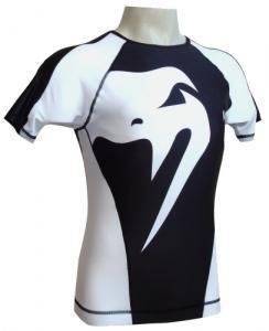 Venum 'Giant' rashguard nera e bianca maniche corte
